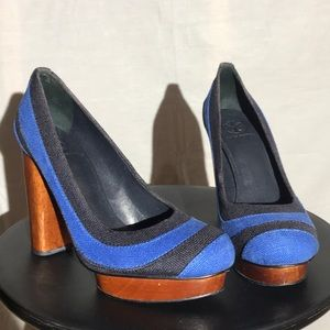 Tory Burch Blue and Black Wood Heels